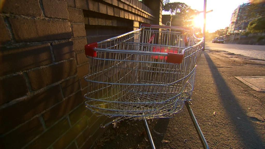 The battered trolley the men were travelling in. (9NEWS)