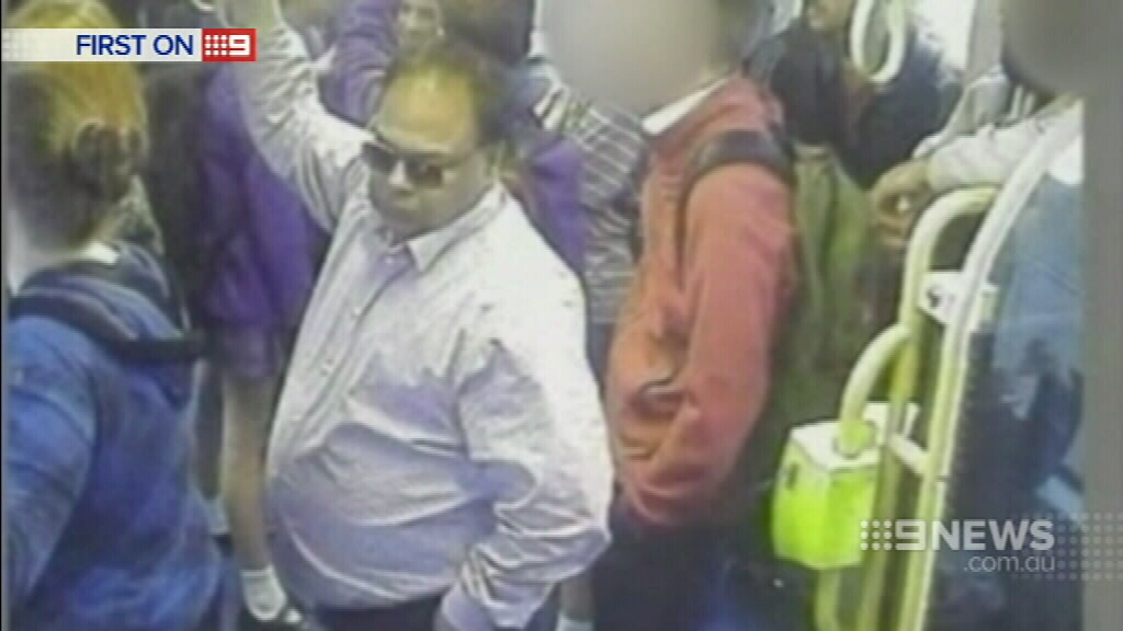 This man was seen on a Melbourne tram preying on female passengers. (9NEWS)