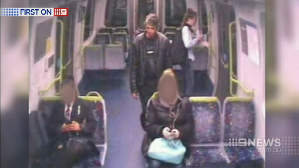 This man was seen on the Werribee line train touching himself inappropriately in front of a child and a teenager. (9NEWS)