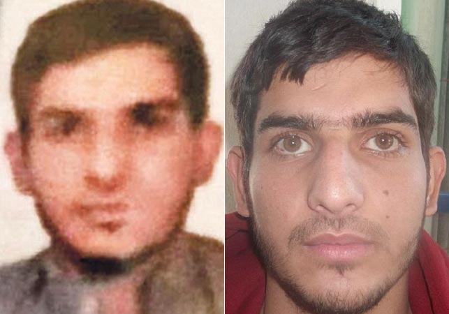 The Syrian passport photo (left) of Ahmed Almuhamed, alongside another photo of the suspect.