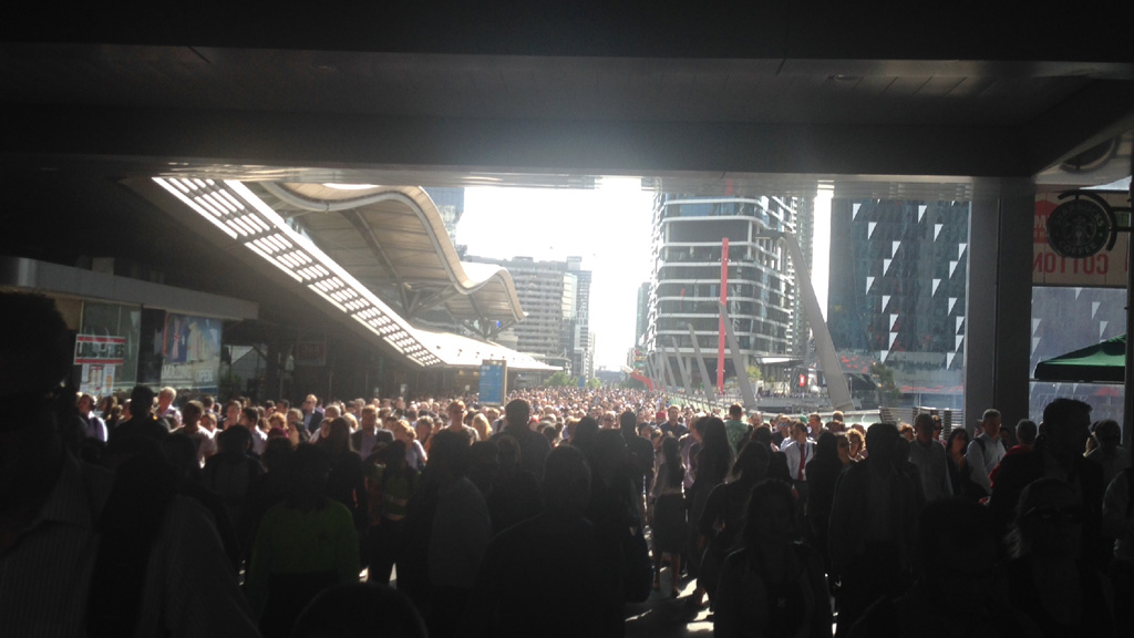 The sea of people leaving Docklands, bypassing Southern Cross Station. (Mike Hurley)