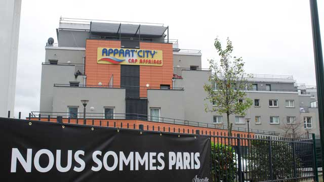 The Appart'City hotel in Alfortville, where two rooms were rented the day before the attacks in Paris with the credit card of Salah Abdeslam. Source: AAP.