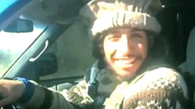 Abaaoud in a notorious video showing bodies being hauled to a mass grave.