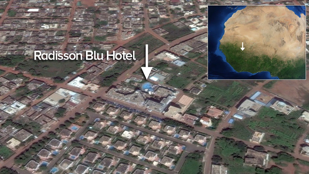 The Radisson Blu Hotel is located in Mali's capital of Bamako.