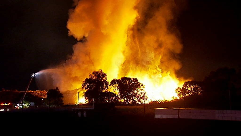 The fire broke out at a rubbish pile near a Somerton factory. (9NEWS)