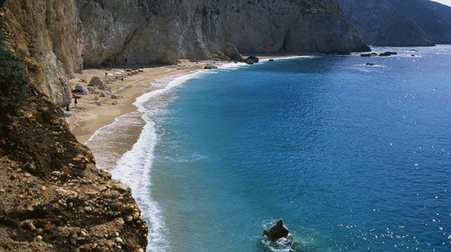Egrimni Beach before the earthquake. (Getty)