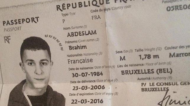 The passport of Ibrahim Abdeslam.
