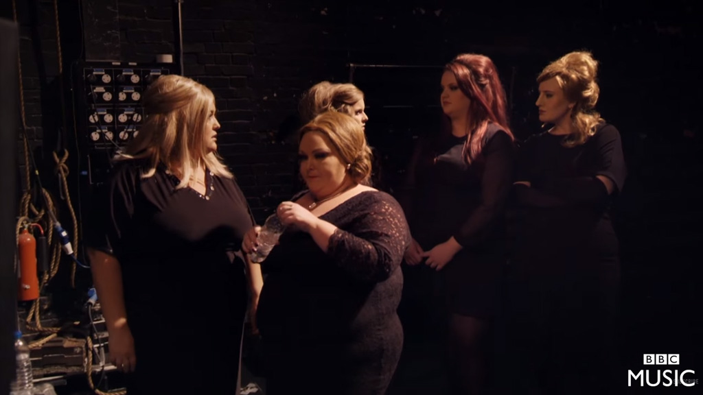 'Jenny' (far right) waits backstage with her fellow Adele impersonators. (BBC)