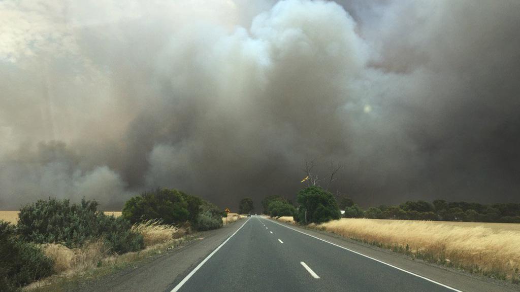 Smoke from the Pinery bushfire visible from a long distance. (Twitter, @walcoseedau)