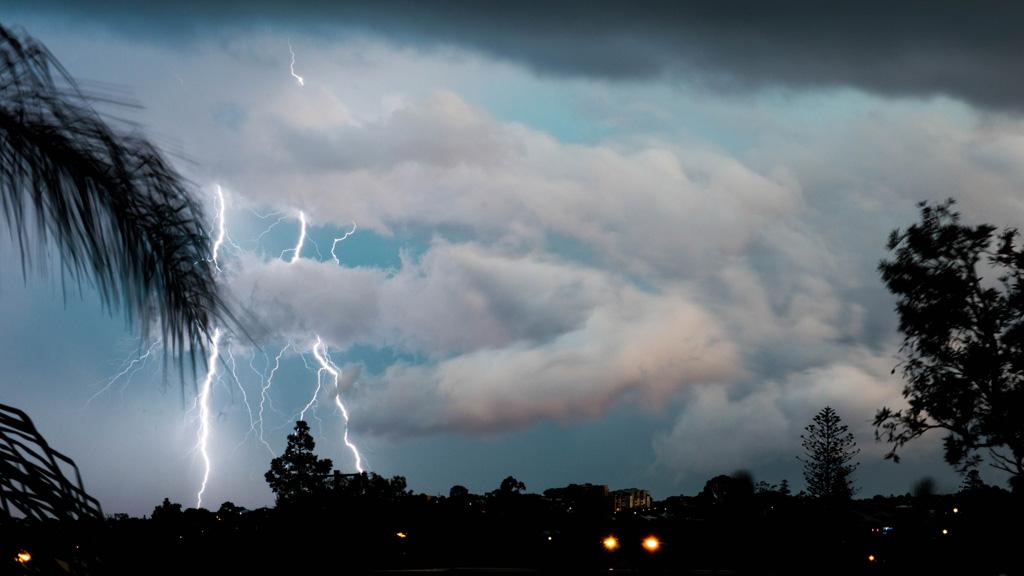 Lightning strike caught on camera from Grange. (Supplied, Dean Hanson)