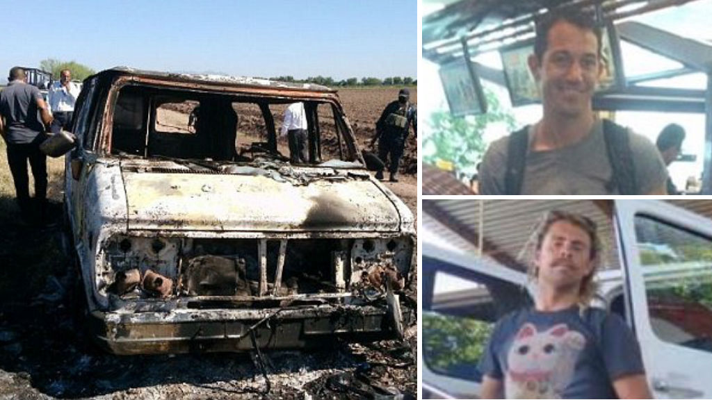 The men's burnt-out van has been found in a region notorious for drug cartel activity.