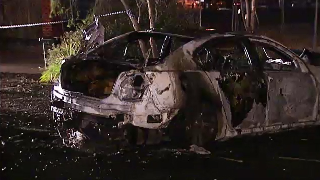 A car believed to have been used in the drive-by shooting was found burnt out nearby. (9NEWS)
