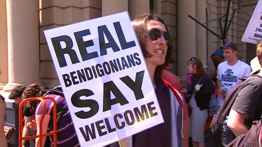 Anti-racism demonstrators welcomed the decision to grant the mosque planning approval. (AAP)