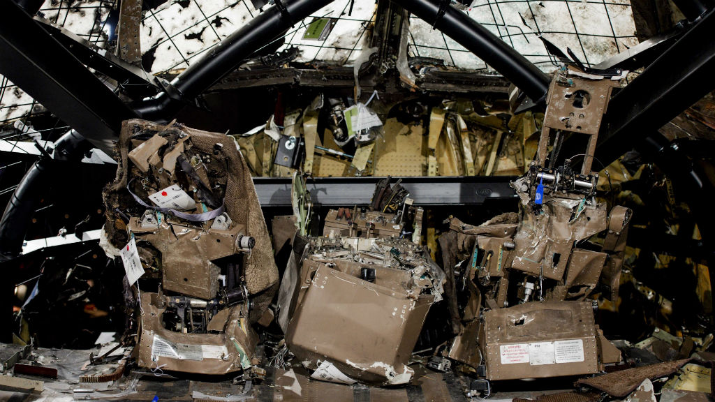 A view of the rebuilt cockpit section of the rebuilt fuselage of Malaysia Airlines flight MH17.