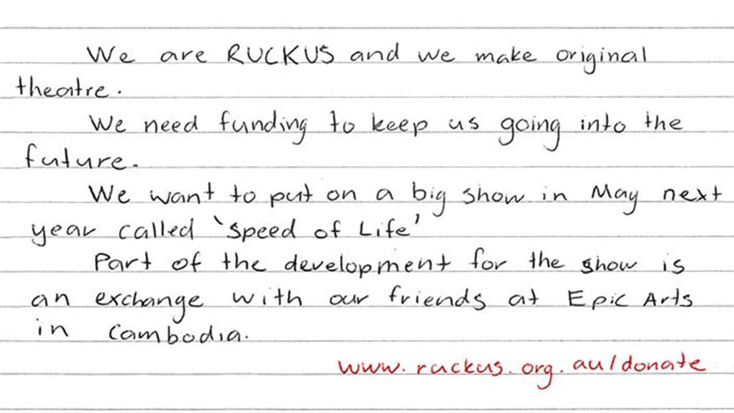 A handwritten open letter from the RUCKUS group. (RUCKUS)