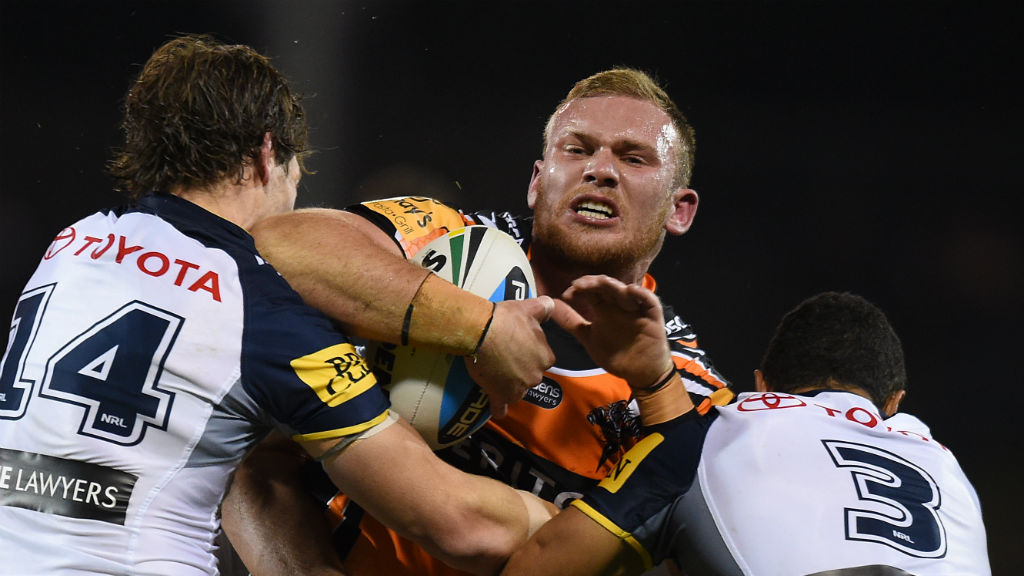 Wests Tigers have sacked young forward Matthew Lodge. (AAP)