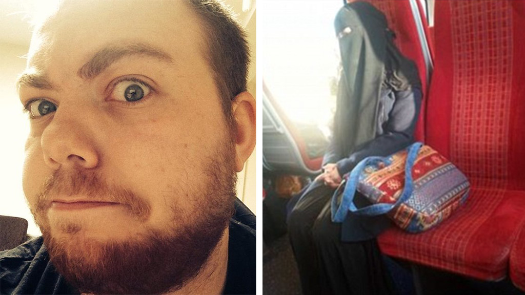 Mr Coyne and the anonymous passenger he saw sitting alone while on the train to Basinstoke, UK. (Facebook/Dante Jamie Coyne)