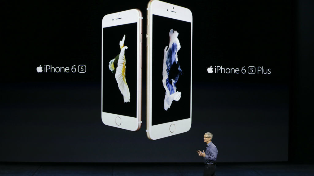 Apple CEO Tim Cook shows off the new IPhone6S and 6S Plus. (Supplied)