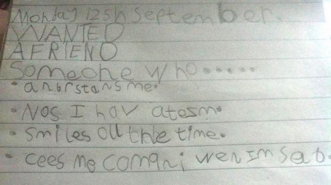 Special needs girl pens touching 'friend wish list'