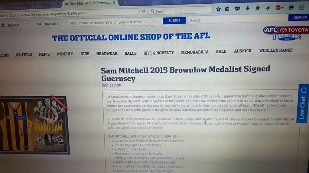 The AFL's official online store had the signed jersey for sale. (Greg Lennox)