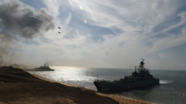 Russia's navy ships and military jets take part in a military exercise called Kavkaz (the Caucasus) 2016 at the coast of the Black Sea in Crimea