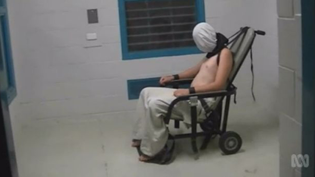 Not Abu Ghraib: Dylan Voller is shackled into a chair at Don Dale, NT. Source: AAP