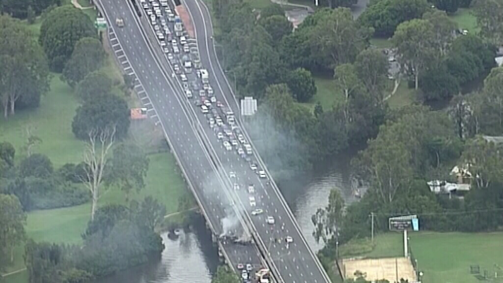 A smoke plume seen above the scene of the accident. (9NEWS)