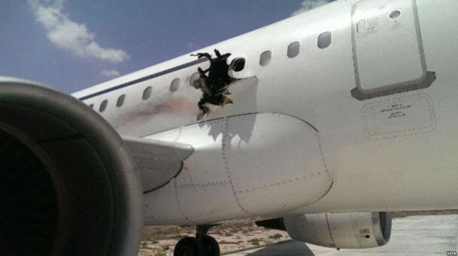 The hole blown in the side of the Daallo plane. (AFP)