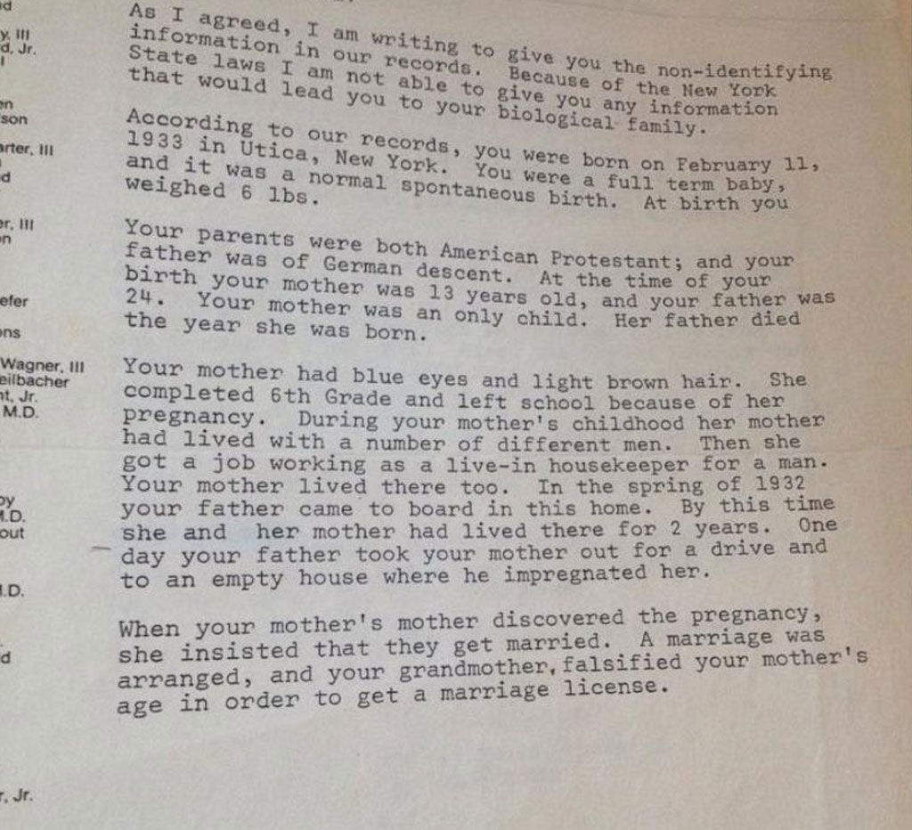 A letter recieved from the adoption agency in 1983. (Kimberly Miccio)
