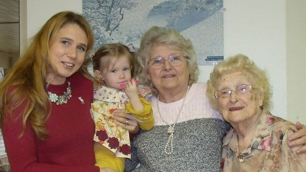 Daughter Kimberly Miccio and her granddaughter; daughter Betty Morrell and mother Lena Pierce. (Kimberly Miccio)