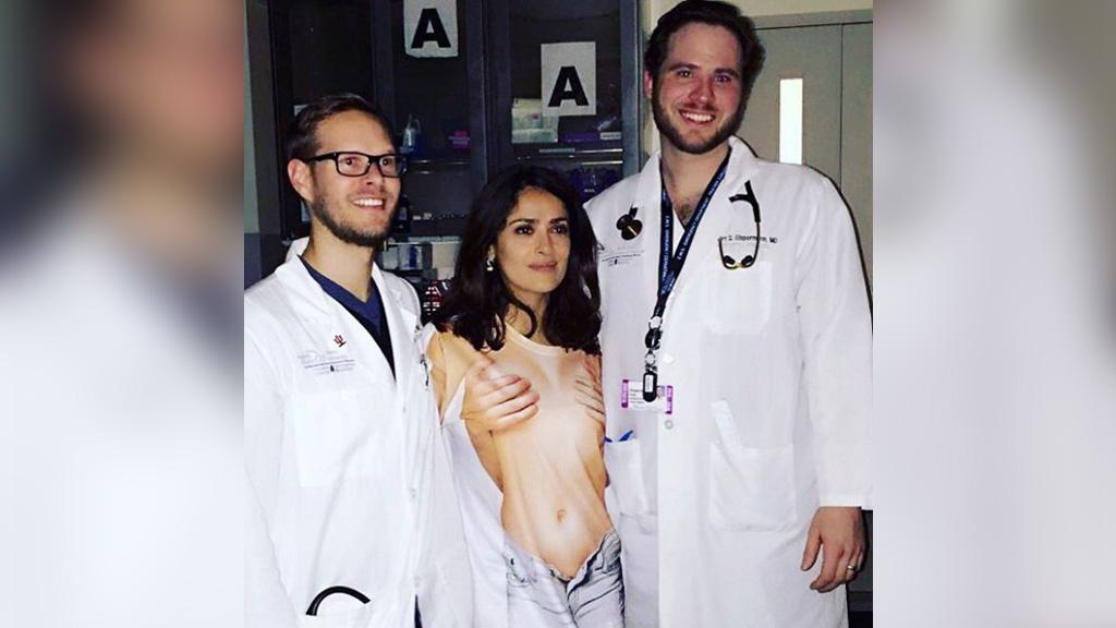 Actress Salma Hayek rushed to hospital wearing 'inappropriate' shirt