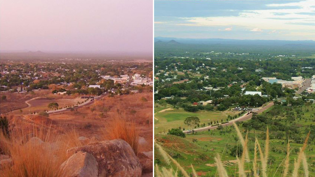 Before and after: Charters Towers, north Queensland. (Facebook/Craig Collins)