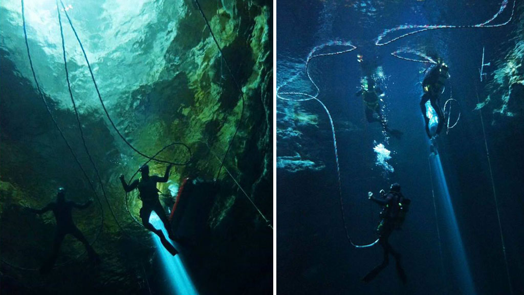 <p>South Australian police have released stunning images of their officers diving to great depths inside some of the state's deepest underwater sink holes.</p><p>Ten members of the South Australian Police Water Operations team documented their descent into the murky waters of 'Kilsbys Sinkhole' and 'The Shaft' near Mount Gambier, two sinkholes that are renowned for their depth and water clarity.</p><p>Pictures from underneath the surface reveal an otherworldly landscape, a desolate and hostile world that is only occasionally illuminated by bright beams of sunlight from above.</p><p>Kilsbys Sinkhole is approximately 65 metres deep, while 'The Shaft' drops to an almost unimaginable 120 metres. </p><p>Police divers are often deployed to search for missing people, often in deep water locations. Divers may also be instructed to search for weapons in areas of zero visibility.</p><p>Tap through the gallery to see the remarkable images and video.</p>