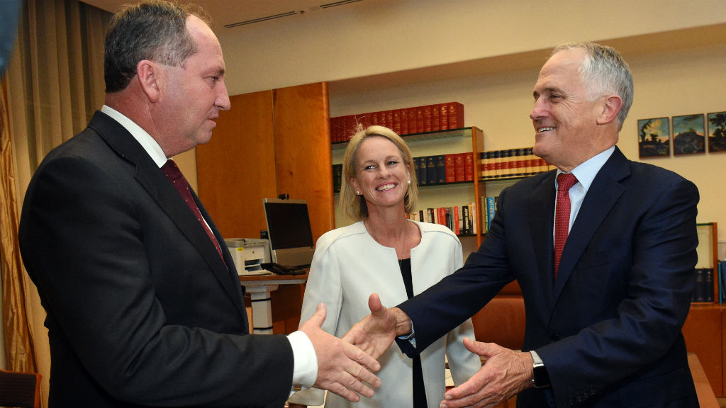 "Fiona Nash (centre) said Mr Shorten's comments were ""prehistoric"". (AAP)"