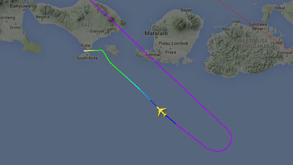 The plane was turned around the first time as it passed over Bali. (Flightradar24)