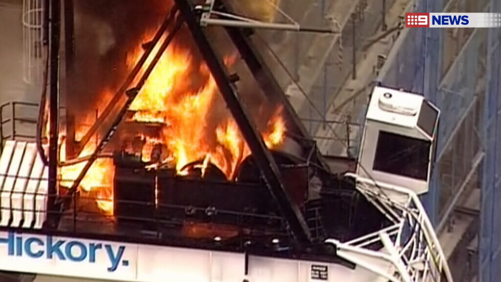 A dozen fire crews were called to the construction site. (9NEWS)