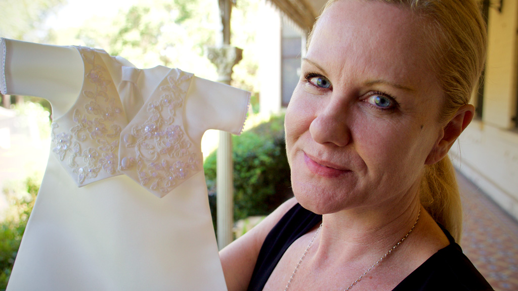 Angel Gowns Australia president and founder Fiona Kirk. (Ehsan Knopf/9NEWS)