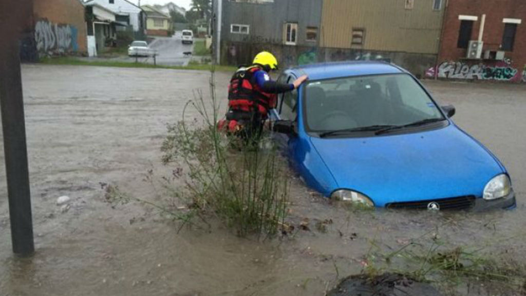 A submerged car in Wallsend, Newcastle. (NSW Fire and Rescue)