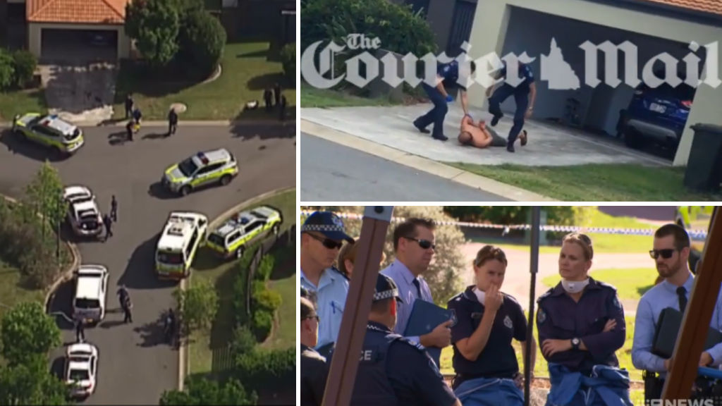 A man, believed to be the family's grandfather (top right) was arrested at the scene. (Courier Mail/9NEWS)