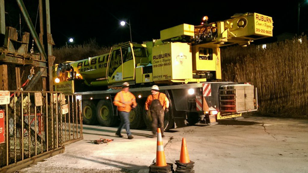 A crane that helped rescue of seventeen miners stuck in an elevator underground at the Cargill Salt Mine. (AAP)