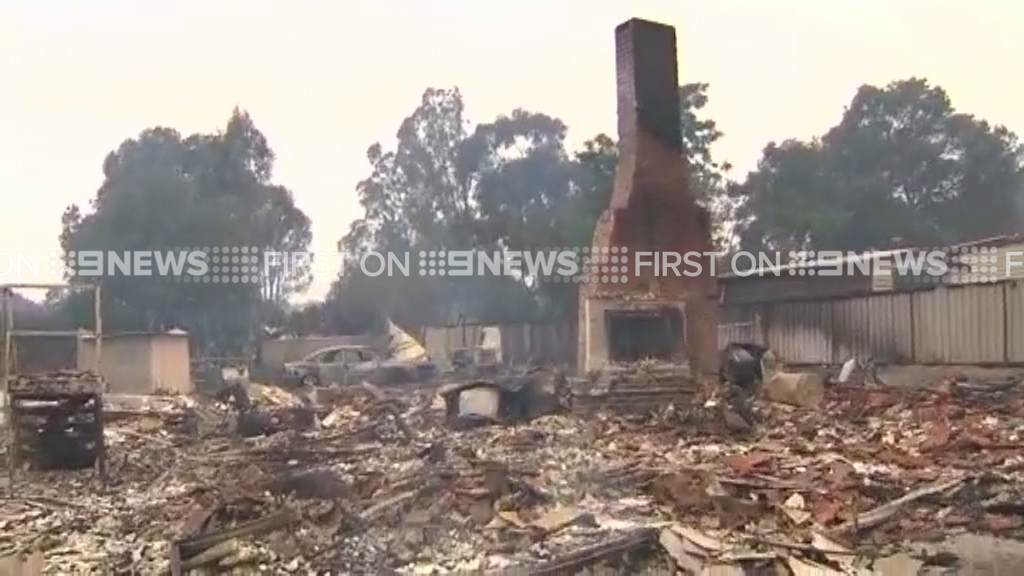 A building reduced to rubble. (9NEWS)