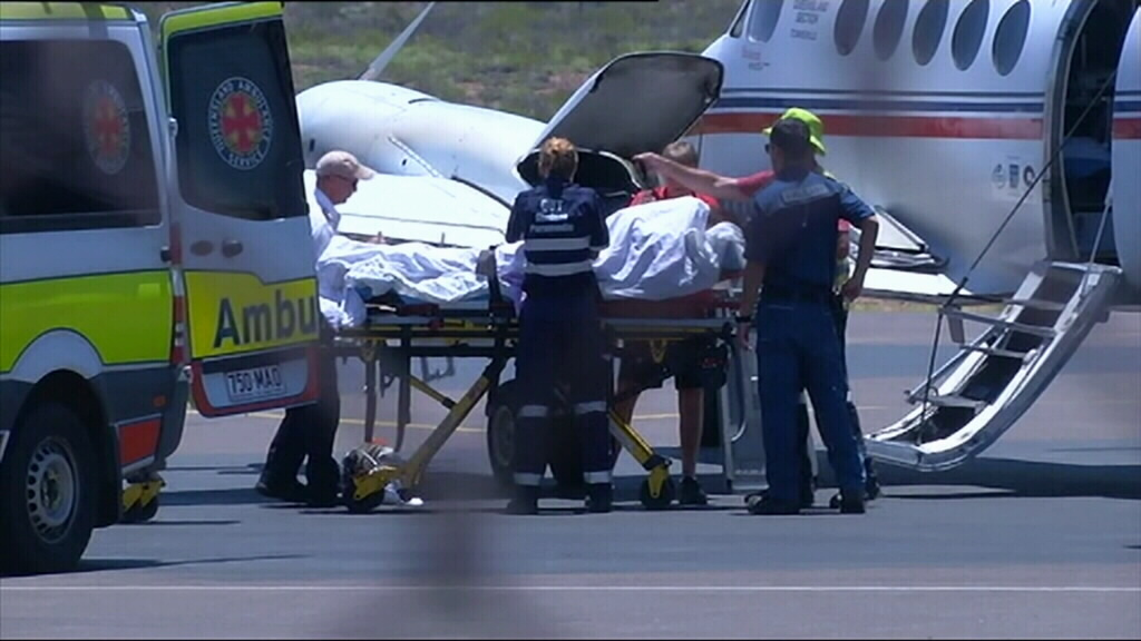 The 36-year-old pub employee was today flown to Townsville for treatment. (9NEWS)