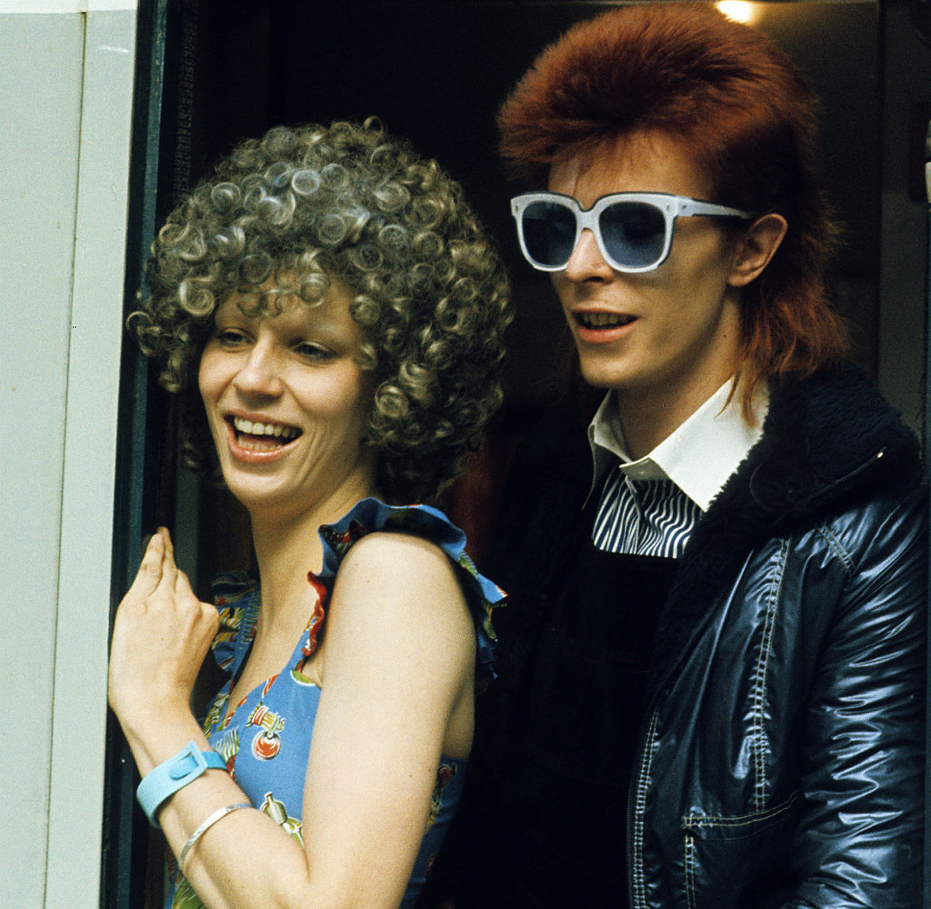 David Bowie with his wife Angie Bowie on January 01, 1974 in London. (Getty)