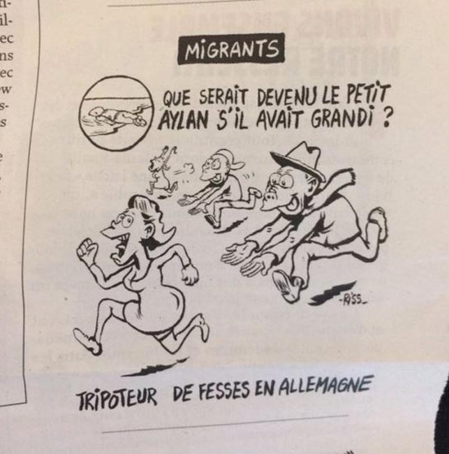 Charlie Hebdo cartoon shows drowned Syrian toddler as sex attacker
