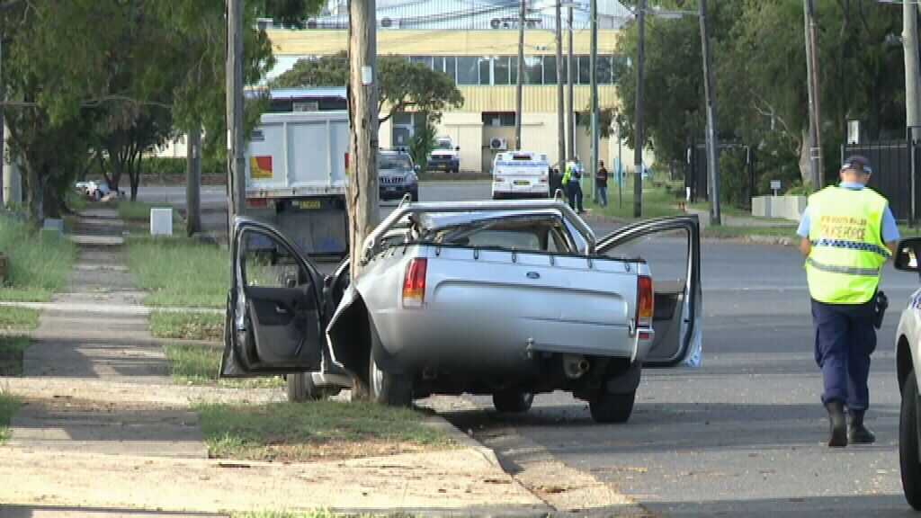 The ute hit a pole in Condell Park yesterday. (9NEWS)