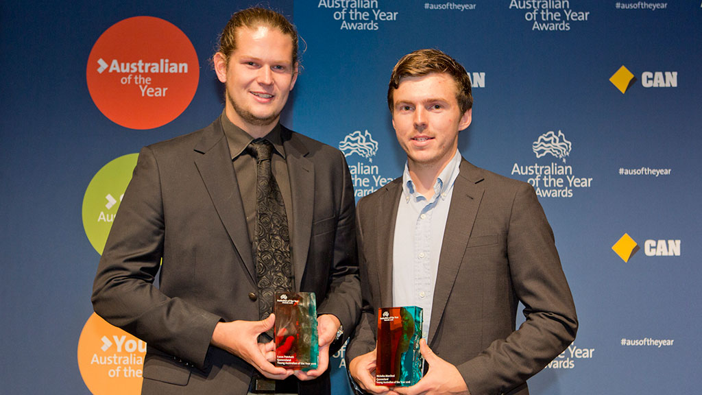 Nic Marchesi and Lucas Pratchett are the Young Australians of the Year. (AAP)