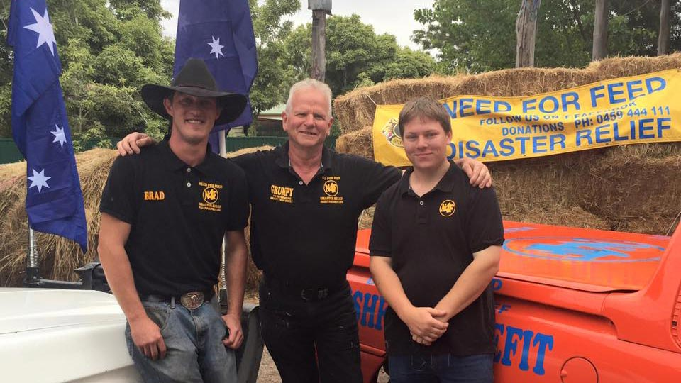 Need For Feed coordinator Graham Cockerell and two volunteers. (Facebook/Need for Feed Disaster Relief)