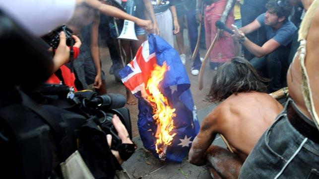 Artist gets death threats for proposed Australia Day flag burning event