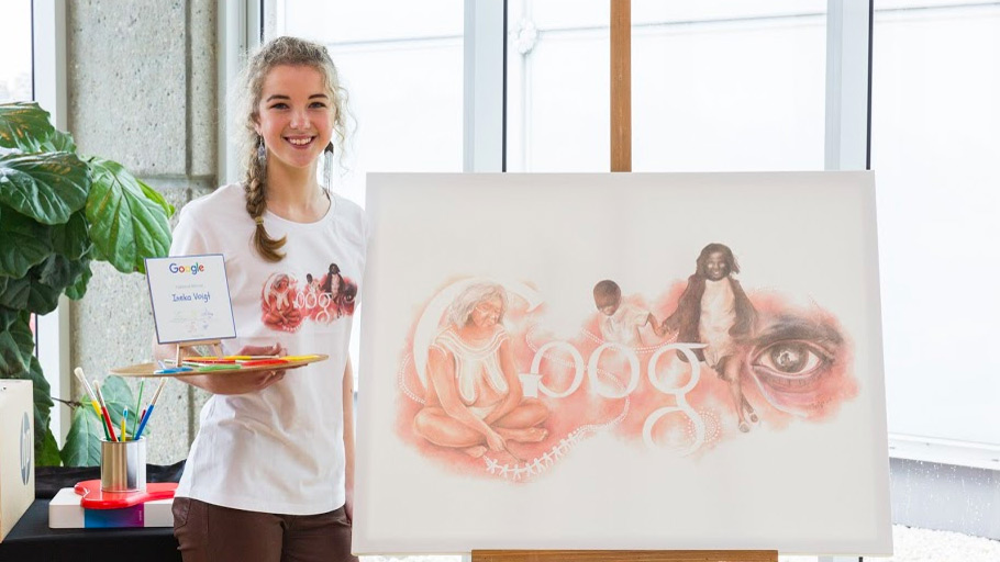 Sixteen-year-old Canberra artist Ineka Voigt with her winning entry. (Google/Ineka Voigt)