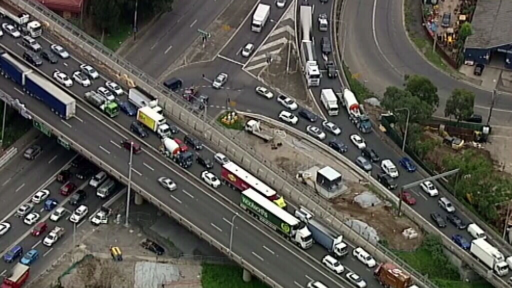 The crash has caused serious traffic woes. (9NEWS)